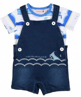 Baby Boys Dungaree Set 2 Pieces By Boboli Spain ( To know available model sizes and request please contact us whatsApp 00966550520411 )